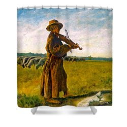 Shower Curtain featuring the painting The Shepherd by Henryk Gorecki