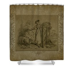 Shower Curtain featuring the digital art The Shepherdess by Sandra Foster