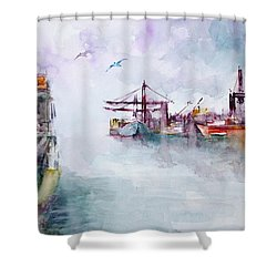 Shower Curtain featuring the painting The Ship At Harbor Entrance by Faruk Koksal