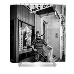 The Sidewalk Humidor  Shower Curtain by Melinda Ledsome