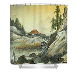 The Silence In The Mountains Shower Curtain by Sorin Apostolescu