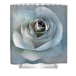 The Silver Luminous Rose Flower Shower Curtain by Jennie Marie Schell