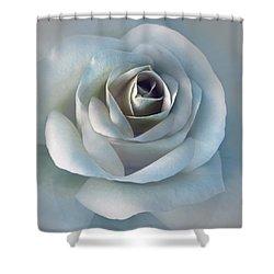 The Silver Luminous Rose Flower Shower Curtain