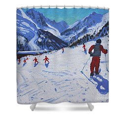 The Ski Instructor Shower Curtain by Andrew Macara