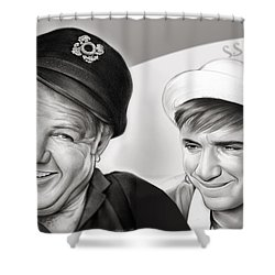 The Skipper And Gilligan Shower Curtain by Greg Joens
