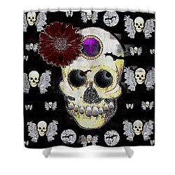 The Skull Is In Love With Cupidos Shower Curtain