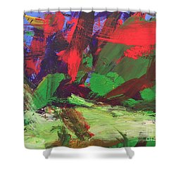 Shower Curtain featuring the painting The Sky by Donald J Ryker III