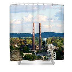 The Smoke Stacks Stand Resolute  Shower Curtain by Mark Dodd