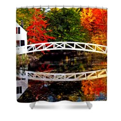 The Somesville Bridge Shower Curtain by Bill Howard
