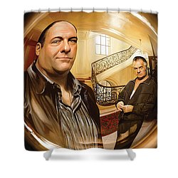 Shower Curtain featuring the painting The Sopranos  Artwork 1 by Sheraz A