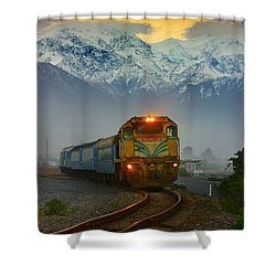 The Southerner Train New Zealand Shower Curtain by Amanda Stadther