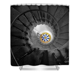 The Spiral Staircase Of Villa Vizcaya Bwcolor Shower Curtain by Mike Nellums