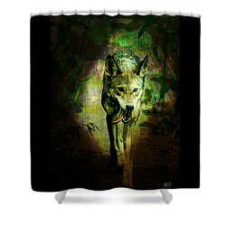 Shower Curtain featuring the digital art The Spirit Of The Wolf by Absinthe Art By Michelle LeAnn Scott