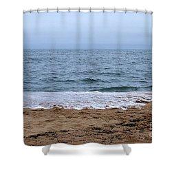 The Splash Over On A Sandy Beach Shower Curtain by Eunice Miller