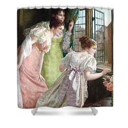 The Squire S Arrival Shower Curtain by Mary E Harding