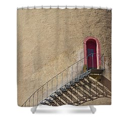 The Staircase To The Red Door Shower Curtain by Heiko Koehrer-Wagner