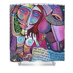 The Stallion And Ghost Goddess Shower Curtain by Sandra Silberzweig