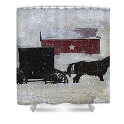 The Star Barn In Winter Shower Curtain
