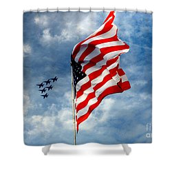 The Star Spangled Banner Yet Waves Shower Curtain by Lydia Holly
