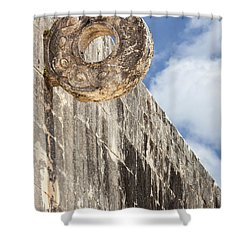 The Stone Ring At The Great Mayan Ball Court Of Chichen Itza Shower Curtain