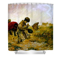 Shower Curtain featuring the painting The Storm by Henryk Gorecki