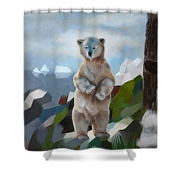 The Story Of The White Bear Shower Curtain by Jukka Nopsanen