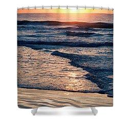 Sun Rising Over The Beach Shower Curtain by Vizual Studio
