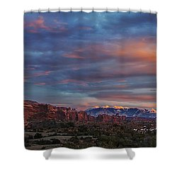Shower Curtain featuring the photograph The Sun Sets At Balanced Rock by Roman Kurywczak