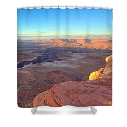 The Sun Sets On Canyonlands National Park In Utah Shower Curtain by Alan Vance Ley