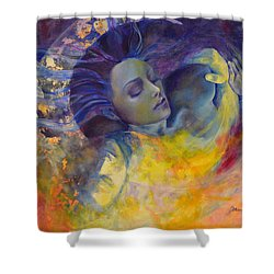 The Sun The Moon And The Truth Shower Curtain by Dorina  Costras