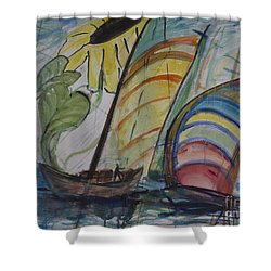 Shower Curtain featuring the painting The Sunflower Journey by Avonelle Kelsey
