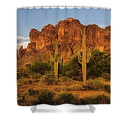 The Superstitions At Sunset  Shower Curtain by Saija  Lehtonen