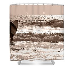 the surfer 3 shower curtain
