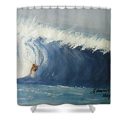 The Surfing Shower Curtain by Fladelita Messerli-