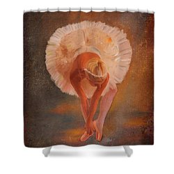 The Swan Warming Up Shower Curtain by Angela A Stanton