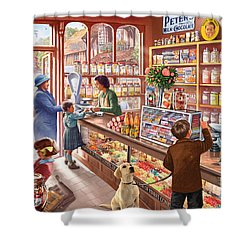 The Sweetshop Shower Curtain by Steve Crisp