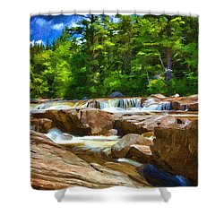 The Swift River Beside The Kancamagus Scenic Byway In New Hampshire Shower Curtain