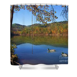 The Swimming Hole Shower Curtain by Lena Auxier