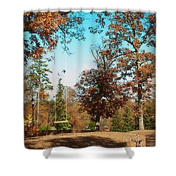 The Swing With Red Bicycle - Davidson College Shower Curtain