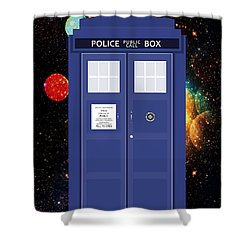 The Tardis Shower Curtain by Nishanth Gopinathan