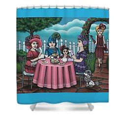 The Tea Party Shower Curtain by Victoria De Almeida