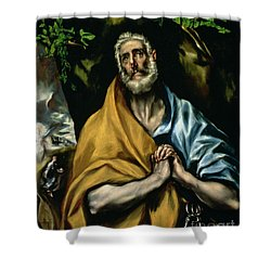 The Tears Of St Peter Shower Curtain by El Greco Domenico Theotocopuli