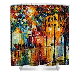 The Tears Of The Fall - Palette Knife Oil Painting On Canvas By Leonid Afremov Shower Curtain by Leonid Afremov