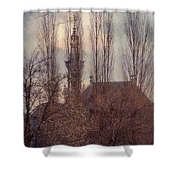 The Temple Bell Dies Away 2. Pink Spring In Amsterdam Shower Curtain by Jenny Rainbow