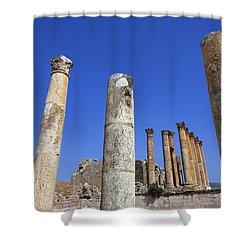 The Temple Of Artemis At Jerash Jordan Shower Curtain by Robert Preston