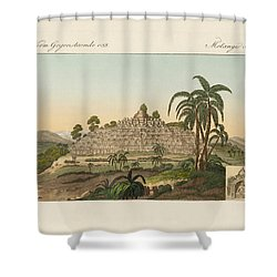 The Temple Of Buddha Of Borobudur In Java Shower Curtain by Splendid Art Prints