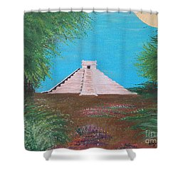 Shower Curtain featuring the painting The Temple Of Kukulcan by Alys Caviness-Gober