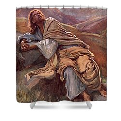 The Temptation Of Christ Shower Curtain by Harold Copping