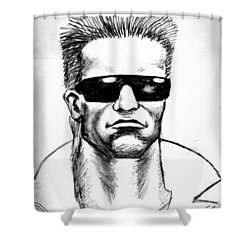 Shower Curtain featuring the painting Arnold Schwarzenegger by Salman Ravish