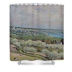 The Terrace At Saint Germain Shower Curtain by Alfred Sisley